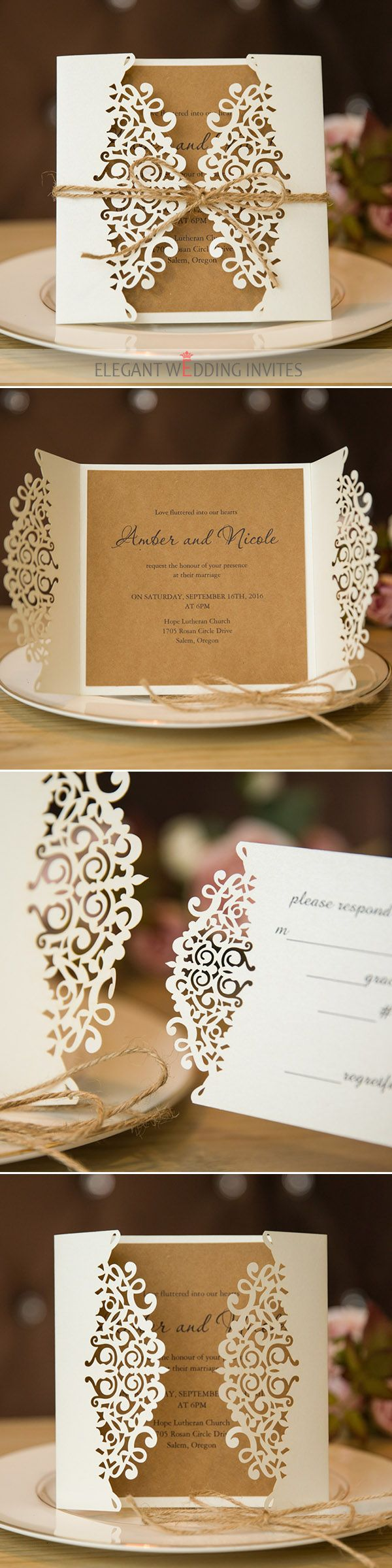 formal rustic laser cut wedding invitation cards
