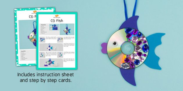 Wonderful CD Fish Craft and Instructions, great for story telling! - twinkl