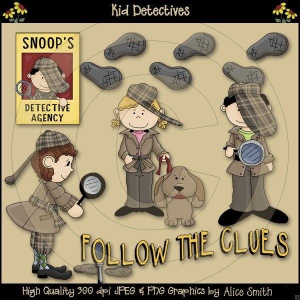 AS4866 Kid Detectives Clip Art Download | Detective theme | Pinterest