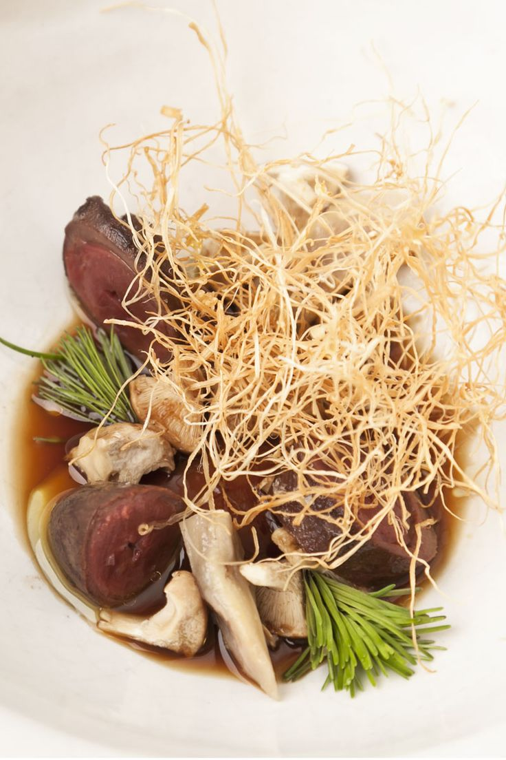 The duck hearts and tongues are cooked sous vide in this Nuno Mendes recipe, to achieve perfectly tender, intensely flavoured results, whilst the dehydrated enoki stalks add texture and height to this beguiling dish.