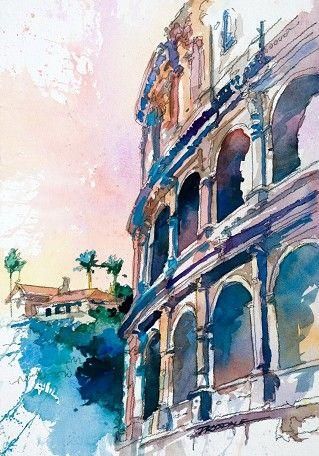 European Watercolor Artwork