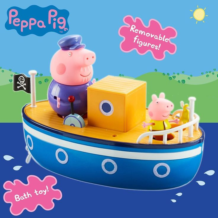 Grandpa Pig Bath Time Boat Peppa Blue Floating Bell Flag Baby Toddlers Kids Toys