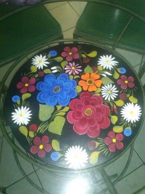 Lazy Susan (centro de mesa con sistema giratorio), de mdf 12 mm, pintada y decorada a mano con pintura acrilica,