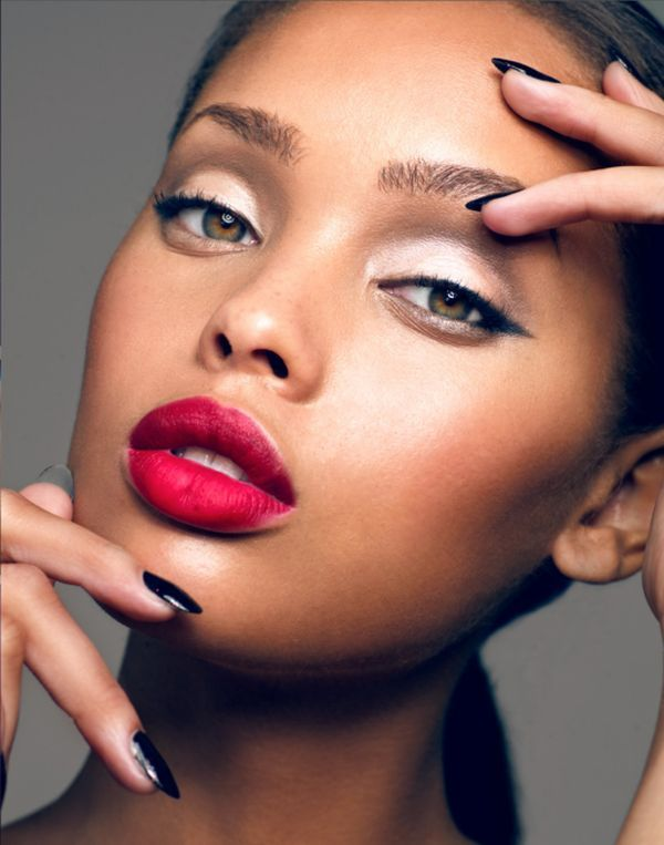 red lipstick and winged eye liner