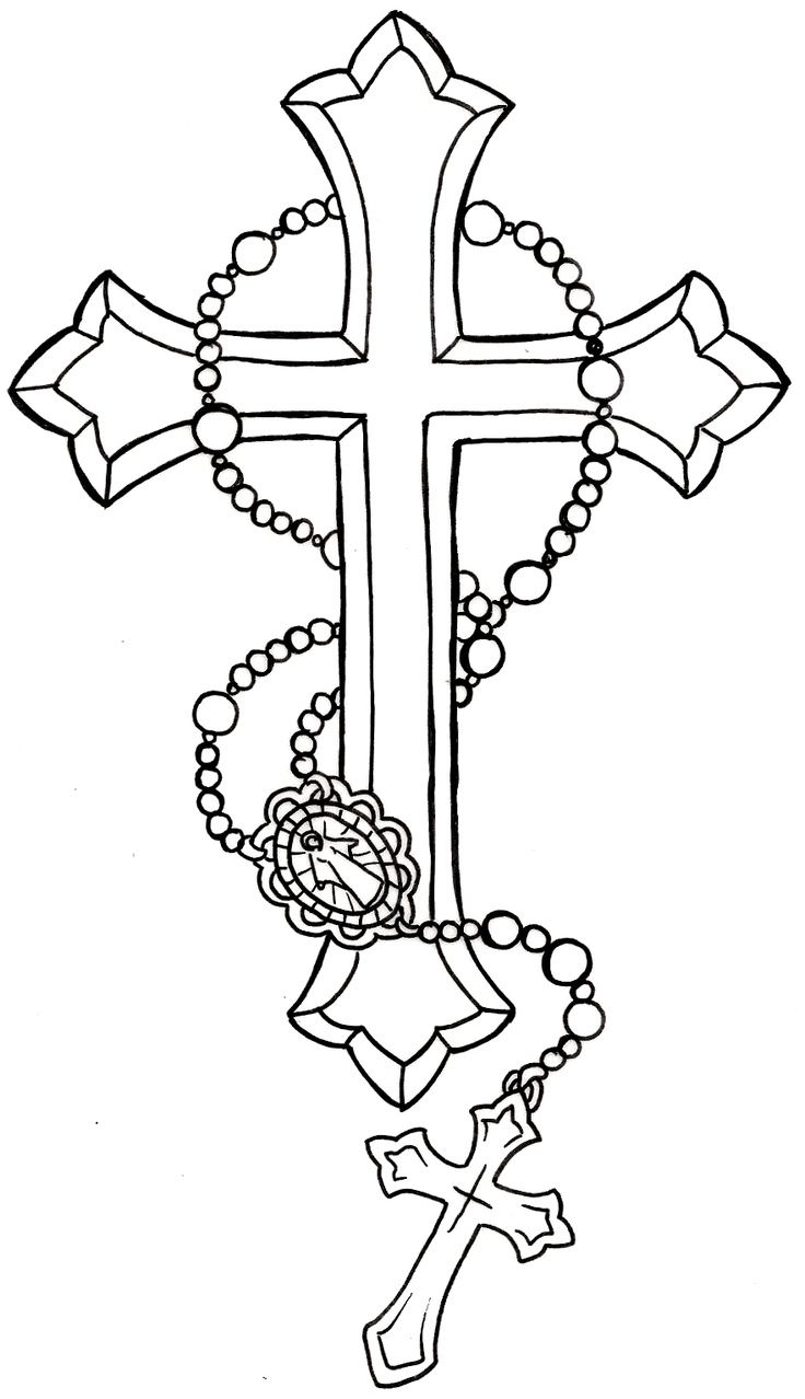 Black Cross With Rosary Cross Tattoo Stencil By Metacharis
