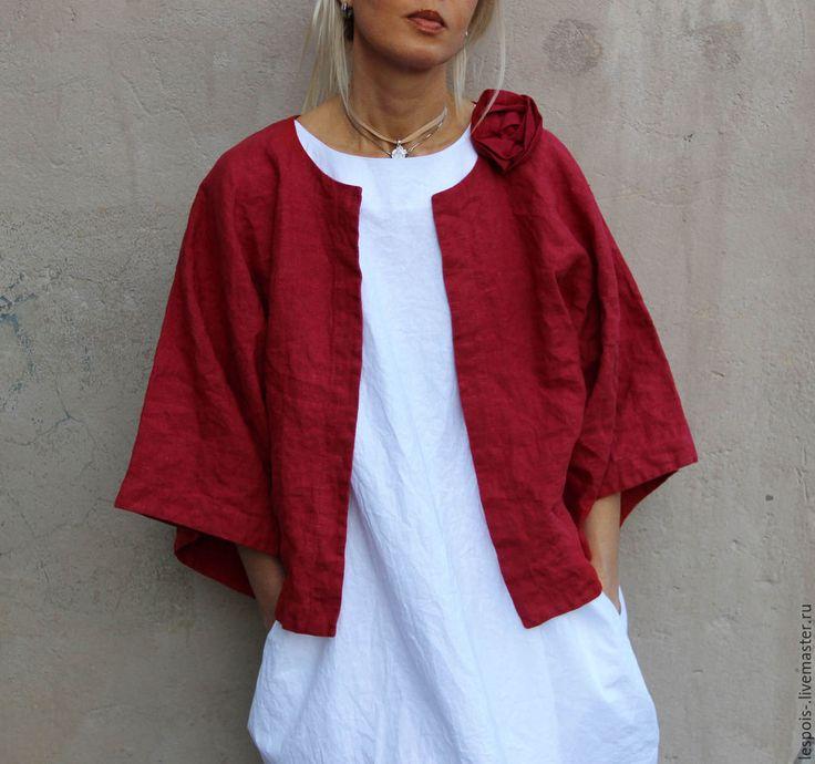 Купить Льняной жакет - кимоно - бордовый, жакет женский, льняной жакет, летний жакет, стильный
