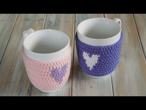 (crochet) How To Crochet a Heart Mug Warmer/Cup Cozy - Yarn Scrap Friday. Link download: http://www.getlinkyoutube.com/watch?v=8jyP25KO5NM