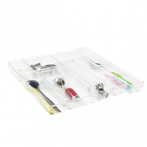Organisateurs de tiroirs en plastique transparent. Permet de s'adapter à son tiroir sans perdre de place ! ON RANGE TOUT