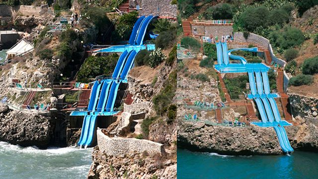 The slide is accessible to anyone with a room key at Città del Mar, an Italian hotel whose rooms top out at 137 euro and whose landscape architects should have their faces etched in stone for posterity  located just off of Sicily, on the Gulf of Castellammare