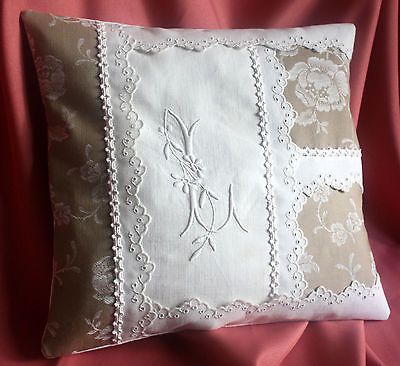 COUSSIN linge ancien monogramme toile a matelas broderie