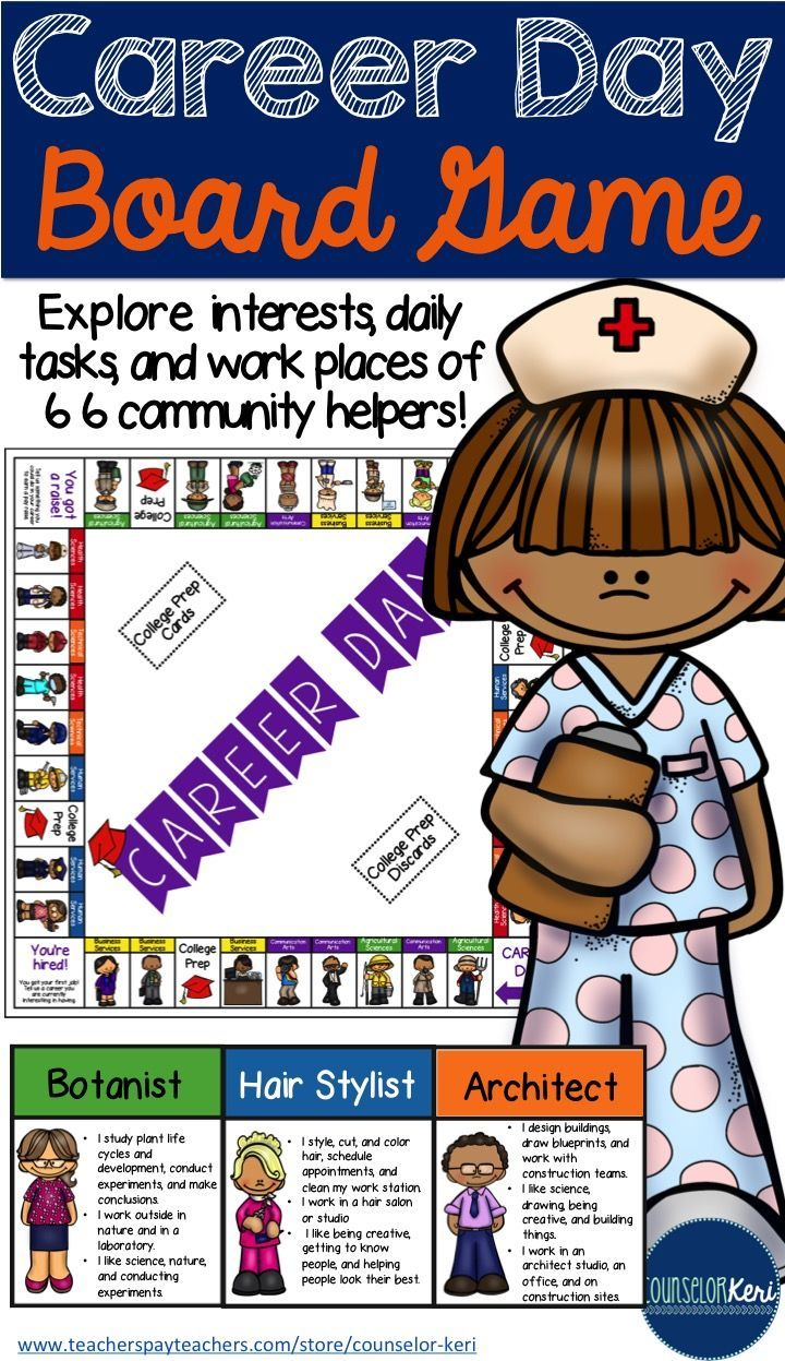 Career Day: a fun board game to explore the interests, daily tasks, and work places of 66 community helpers! -Counselor Keri