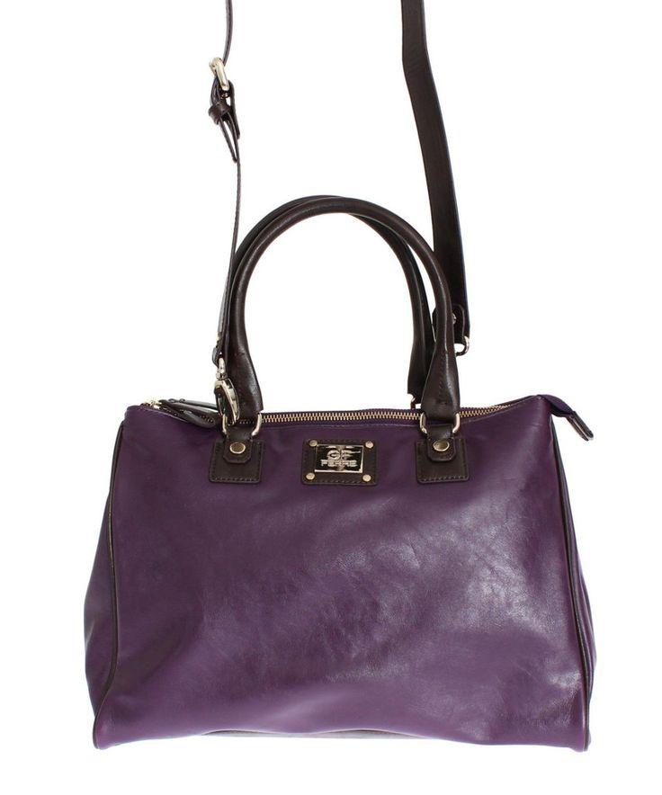 GF FERRE Purple Leather Satchel Handbag #cf-color-purple #cf-size-medium #handbag