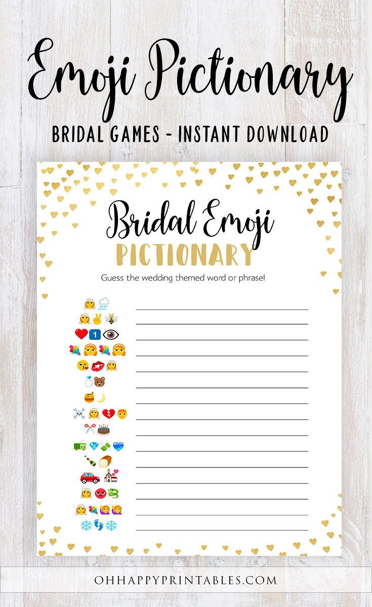 image relating to Printable Emoji Games named Bridal Emoji Pictionary, Bridal Shower Match, Gold Hearts