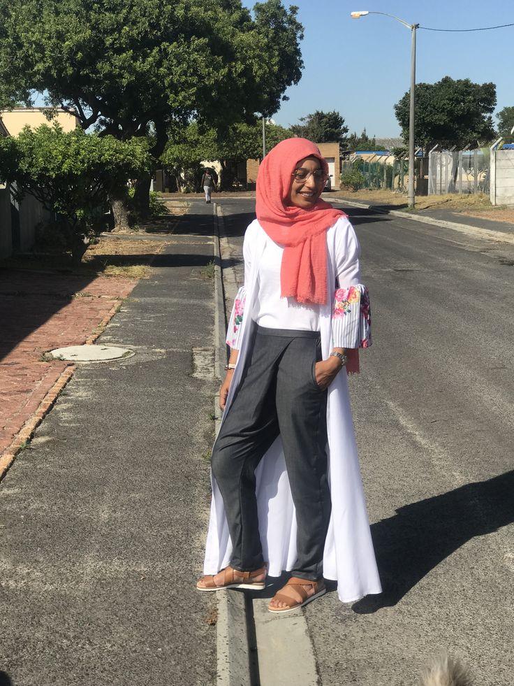 Khamissa + crossover pants www.fabulousinhijab.co.za