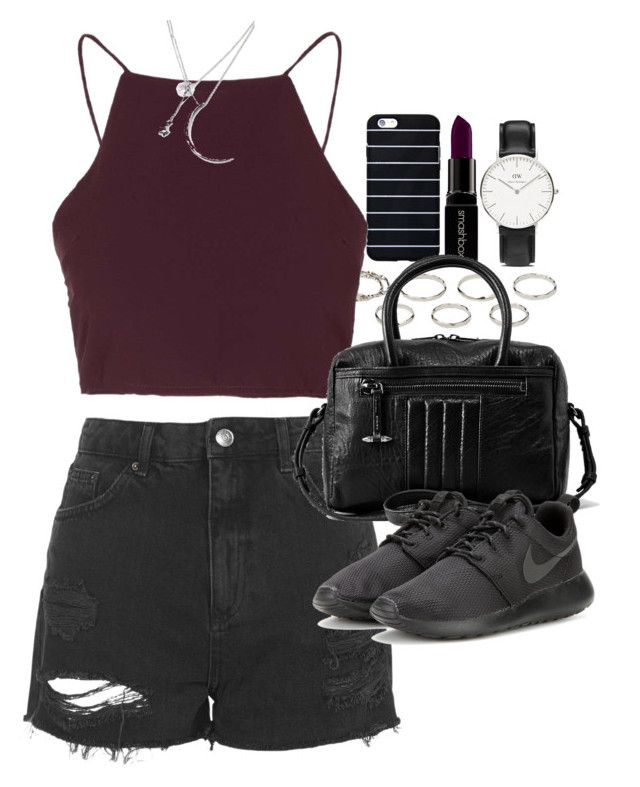 """Outfit for summer with shorts"" by ferned ❤ liked on Polyvore featuring Smashbox, Akira, Topshop, AllSaints, NIKE, Daniel Wellington and Forever 21"