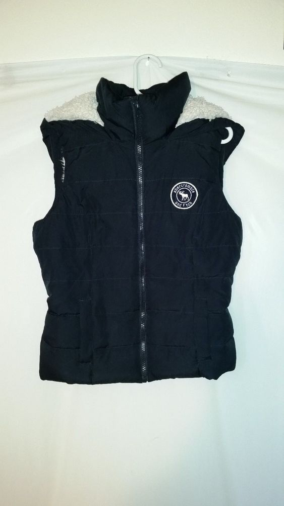 Abercrombie & Fitch Kids Dark Blue Sherpa Lined Puffer Hooded Vest Medium M #AbercrombieFitch #Vest