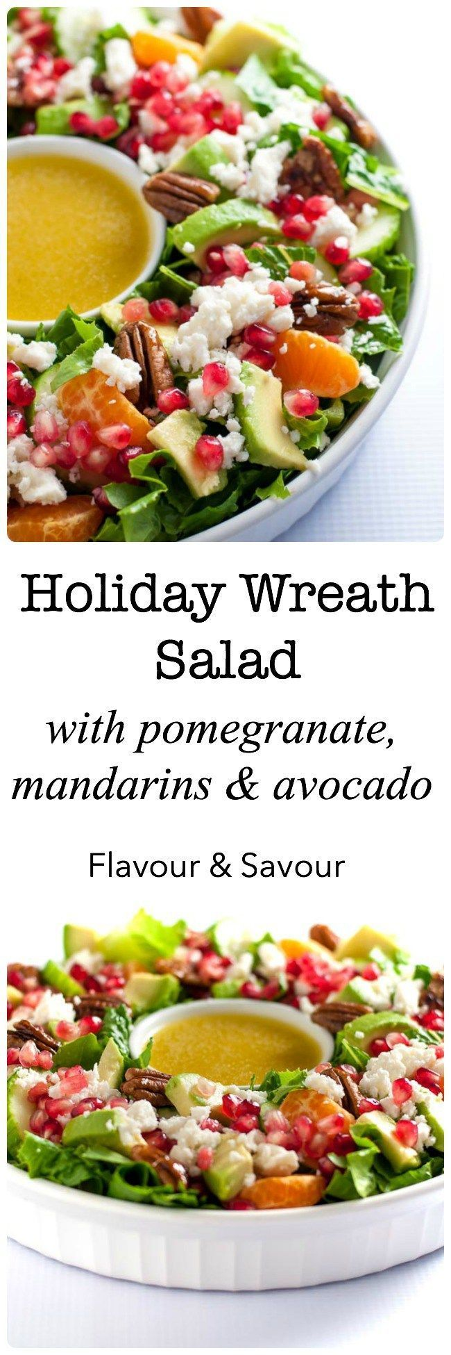 This Pomegranate Mandarin Salad with Avocado and Feta is a festive salad for any winter meal! It's bursting with fruit rich in Vitamin C, crunchy pecans and creamy avocado, and topped with crumbled feta or goat cheese. Serve it as a holiday wreath just for fun!  www.flavourandsavour.com