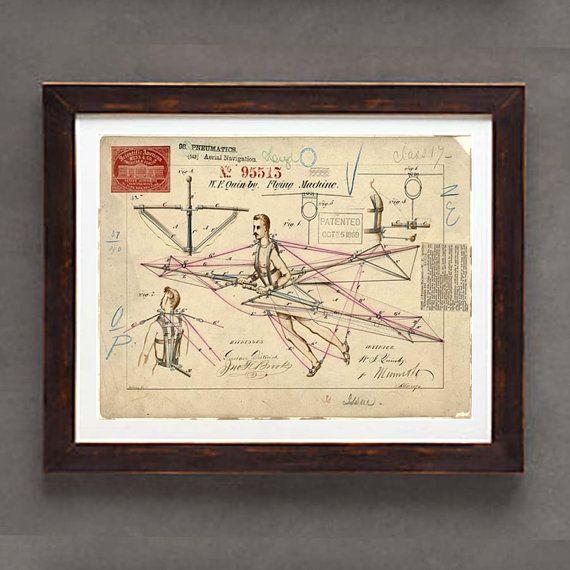 Poster Art Print   Vintage Flying Machine Patent by ArtOfThePage, $11.25