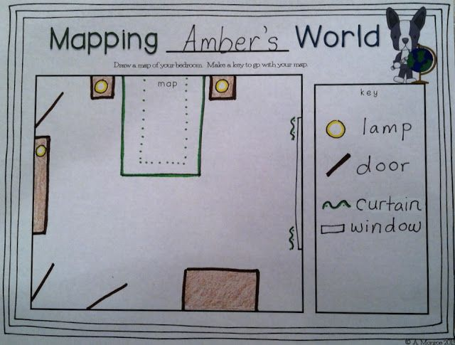 This cute map was made using Mapping Penny's World as a mentor text. A freebie template is available in the blog post...yay!