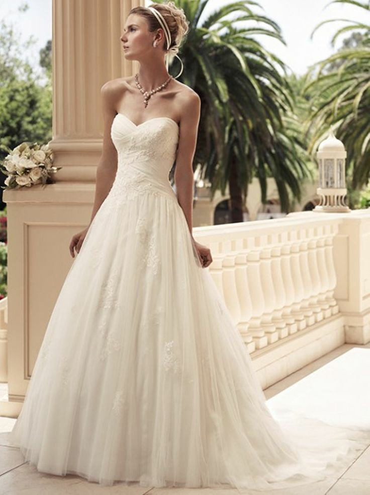 New Sweet heart Ivory tulle applique lace Bridal Wedding Dress Gown custom make