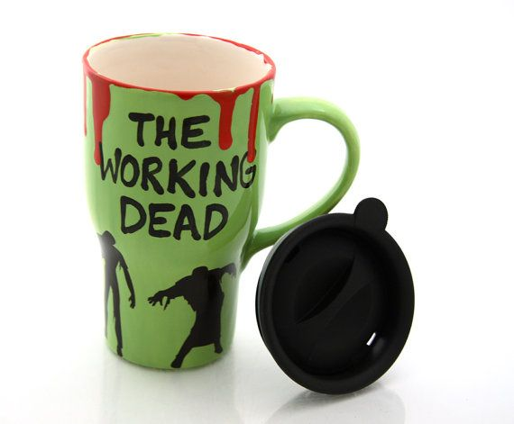 Ceramic travel mug The Working Dead zombies gift for by LennyMud