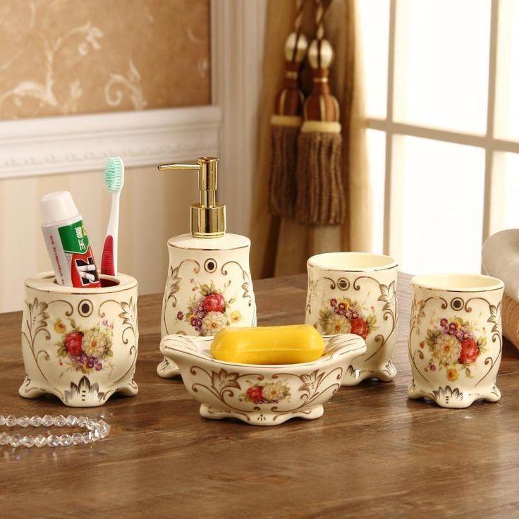Free Shipping Bath 5pcs Ceramic Bathroom Articles For Use That Wash Gargle Toothbrush Gargle Suite High End Wedding Gift Set Yesterday Geschenke Bad Hochzeit
