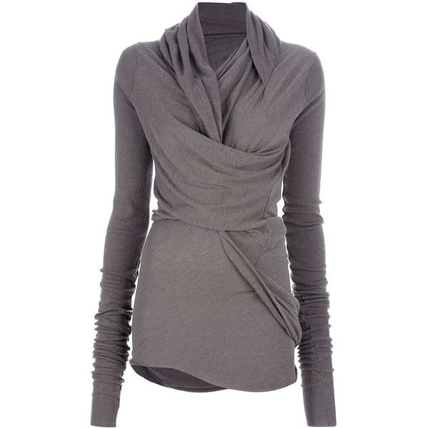 RICK OWENS LILIES Draped sweater found on Polyvore