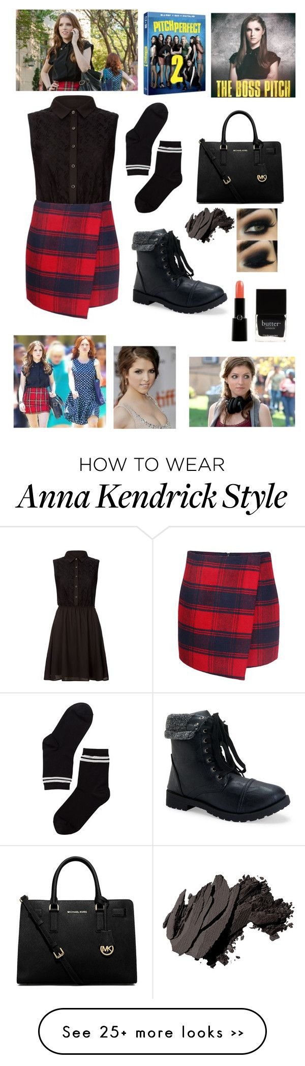 """pitch perfect remake outfit: becca"" by brynlieboo on Polyvore featuring Yumi, Aéropostale, Monki, MICHAEL Michael Kors, Bobbi Brown Cosmetics, Giorgio Armani, Butter London and pitchperfect2"