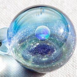 硝子仕掛けの宇宙 ガラスとんぼ玉ペンダント g-5