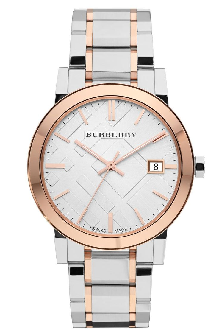 A multi-link bracelet breathes new life into a signature two-tone watch boasting a hydraulic-stamped check pattern on the round face.  38mm case; 17mm band width. Deployant Stainless steel/rose-gold plating/sapphire crystal. By Burberry; Swiss made.