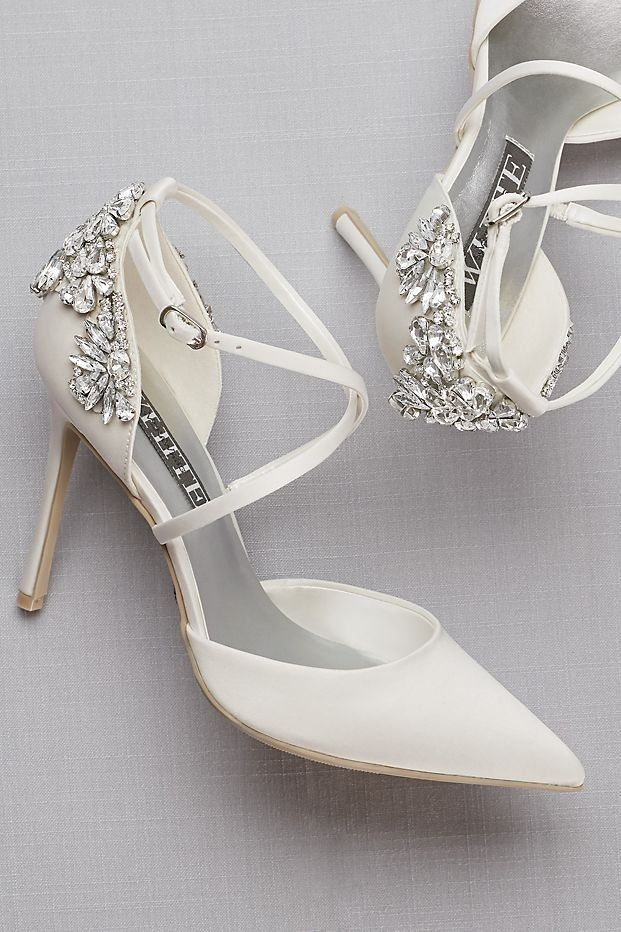 cee33db499a3e4 Pointed-Toe Cross-Strap Wedding Heels with Crystal Back by WHITE by Vera  Wang wedding collection available at David's Bridal #weddingshoes