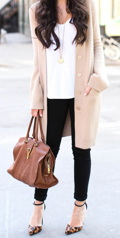 Long cardigan / neutral colors / plain white tee / black pants / casual and chic fashion ...... The shoes kill it but overall love it