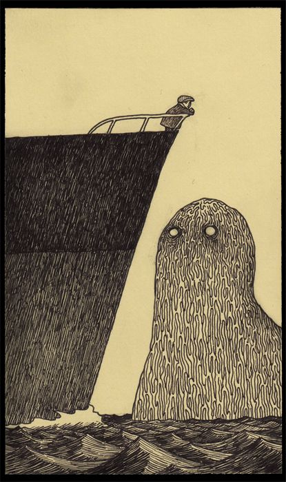 "John Kenn lives in Denmark and makes his ""monsterdrawings"" on post-it notes, according to his blog site. This is one of my favorites."