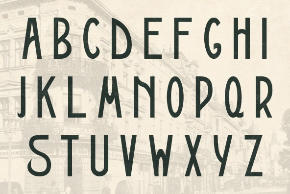 """Galicja is a typeface based on Polish """"Młoda Polska"""" (Young Poland) Art Nouveau / Secession styles of the early 20th-Century. It is based on a poster printed in 1911 by the Piller-Neumann printshop in Lwow (present day Lviv, Ukraine) and is part of a series inspired by the aesthetics of Poland, circa 1908 to 1939."""