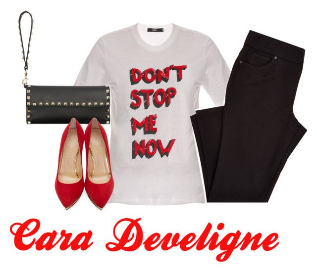 """Cara Deviligne"" by sweedl on Polyvore featuring Markus Lupfer, Valentino and Charlotte Olympia"