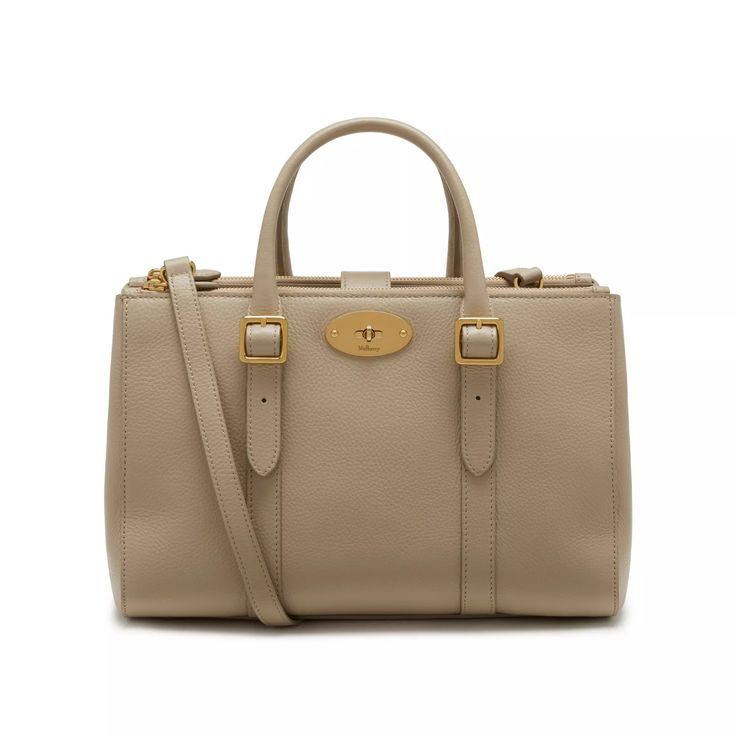 Small Bayswater Double Zip Tote | Dune Small Classic Grain | Family | Mulberry