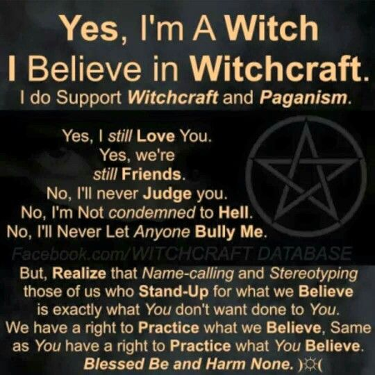 I am proud to be a Pagan, I am proud to be a Witch.  Paganism is a faith of good morals, good values, good deeds, without hate, murder, judgment or bullying.  We accept the differences of others.  Even if we don't understand or believe in them.  Their faith is important to them, just as ours in important to us.