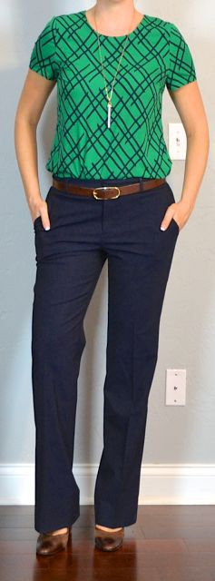 Outfit Posts: outfit post: green print blouse, navy work pants, brown mary janes