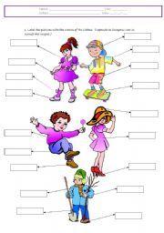Ropa. Un ejercicio muy bueno para clases infantiles, los dibujos son muy bellos.