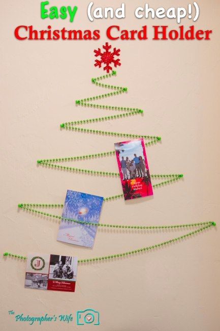 Christmas Card Holder - Displays all your cards on the wall - easy AND cheap!
