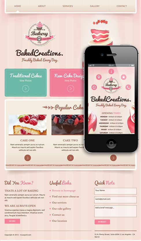 Adobe Muse Template Baked Creations Bakery - The Baked Creations Adobe Muse Template has everything you need to create a beautiful, inviting website for a bakery or cupcake business. The template comes with an easy to modify text and colour presets theme and includes a unique design mobile site.