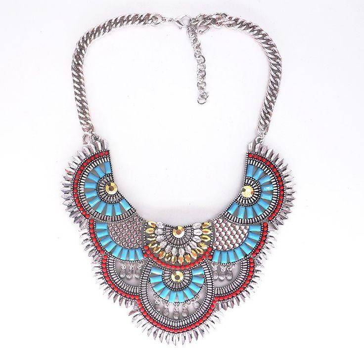 Necklaces : Turquoise Rhinestone Fan Fringe Statement Necklace