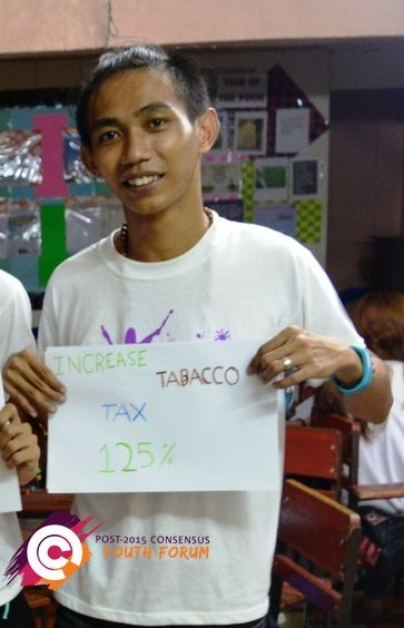 Meet this young man from the Philippines. He recently attended our youth forum and afterwards he ranked 'increase tobacco tax by 125%' as his top priority for the post-2015 development agenda.