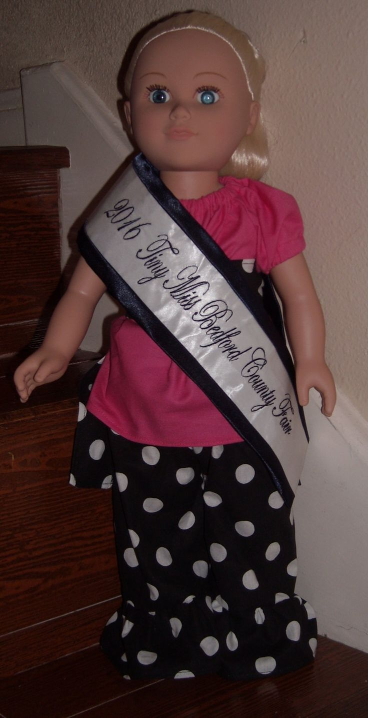 Navy satin with navy font doll sash, doll pageant sash - pinned by pin4etsy.com