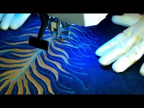 Peacock feathers - free motion quilting on a janome 8200qc / Pawie pióra...