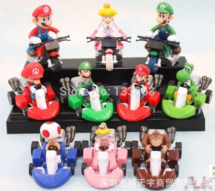 Wholesale for 10 sets Super Mario Bros Car Toy Full 10 pcs/set Super Mario Bros. Kart PULL BACK Cars Figures super mario figure #Affiliate