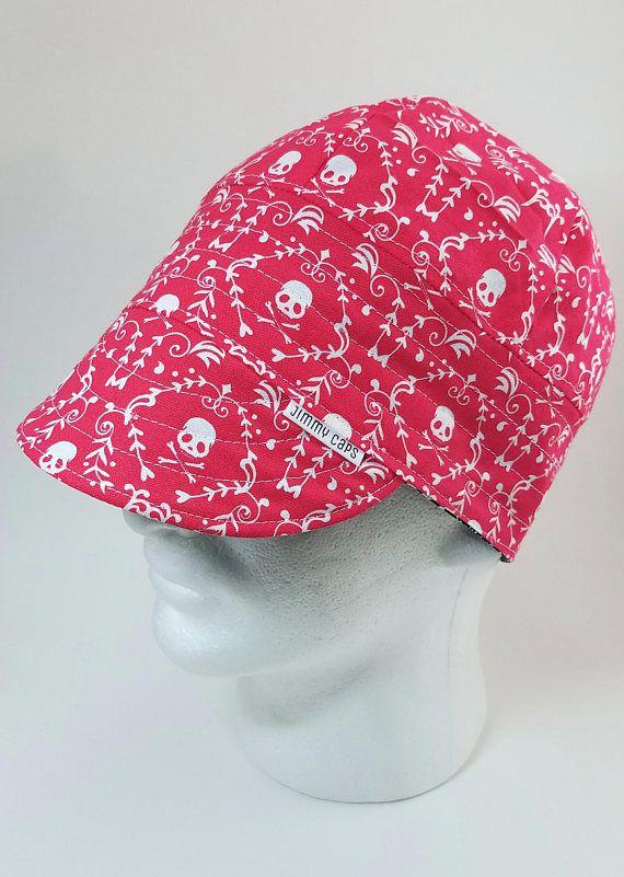 Pink Skull Damask Custom Welders Hat Fitters Cap