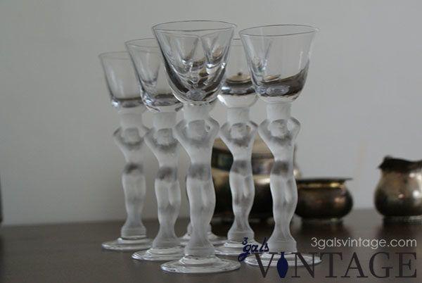 Vintage Bayel 6 Piece Liqueur Glass Set in Naked Lady Design, Made In France. $70.00