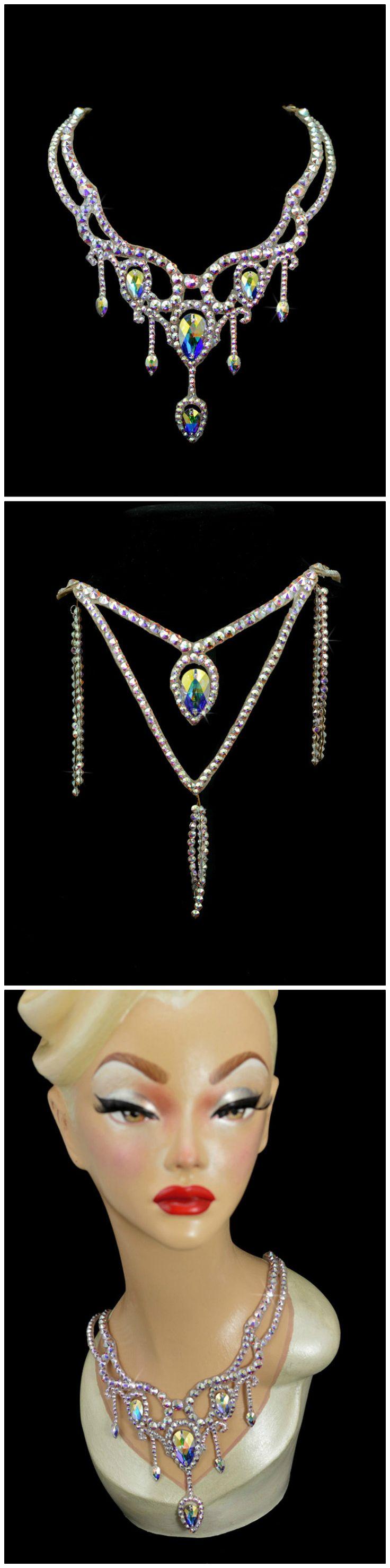 """Jump., Jive an' Wail"" - Swarovski ballroom necklace. Ballroom jewelry, ballroom accessories. Handmade in Canada. www.tzafora.com Copyright © Tzafora"