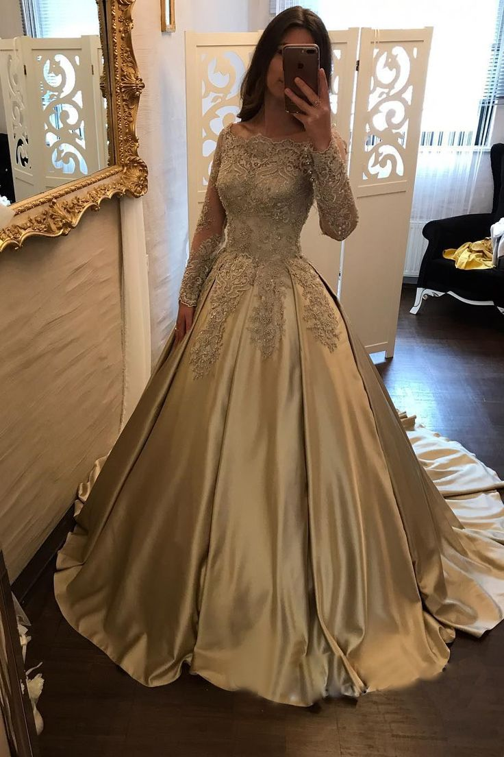 Satin Prom Dress,Ball Gown Prom Dress,Long Sleeve Bridal Gowns,Lace Prom Gown on Luulla